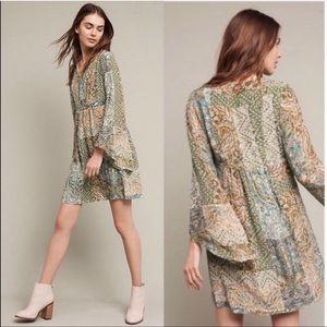 Anthropologie floreat green flowy dress size 6